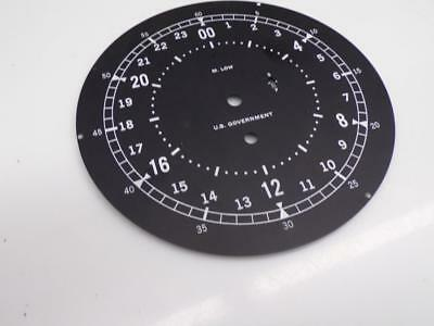 U.S. Government M. Low WW2 Naval Ship's 24 Hour Clock Dial S-F adjustment  D653