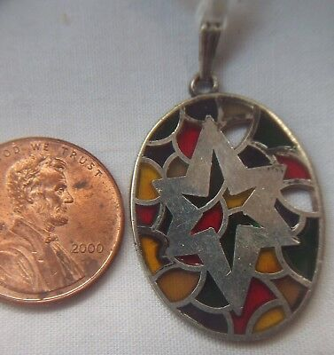 Sterling Silver Modernist Star of David Stained Glass Vintage Pendant