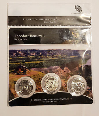2016 US Mint 3 Coin Set America The Beautiful Quarters Theodore Roosevelt