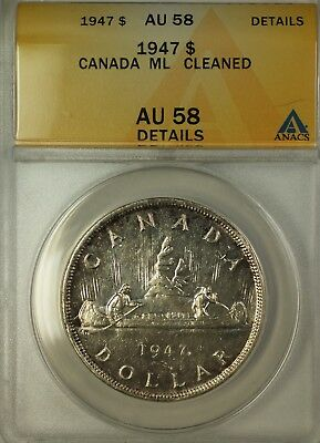 1947 Canada ML Silver $1 Coin King George VI ANACS AU-58 Details Cleaned