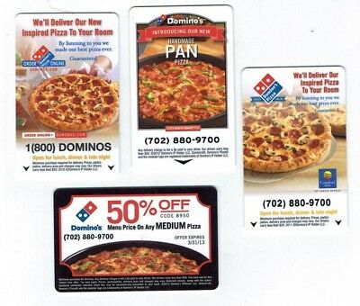 Hotel Room KEY Card LOT of 4 PIZZA Themed / COLLECTION - 4 DIFFERENT KEYS
