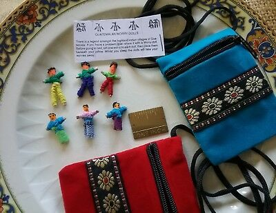 """Guatemalan Worry Dolls in a Velvety Zipper Bag, 30"""" Neck Cord, Ships from USA"""