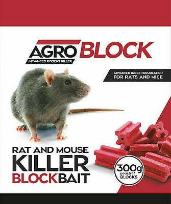 Rat & Mouse Poison Bait Blocks (300g) Maximum Lethal Strength from Remove Pests