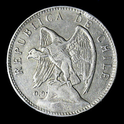 1910 Chile Peso Silver Coin High Grade XF+