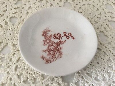 "Antique Aesthetic Movement Brown Transferware 3"" Ironstone Butter Pat.    #1010"