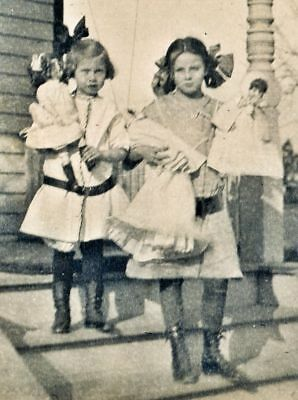 Vintage Photo - 2 Little Girls Each with Two Dolls on Porch Snapshot Photograph