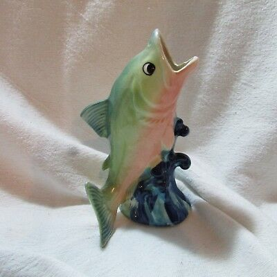 Very Cool Vintage Ceramic Porcelain Bass Fish Wall Pocket, Japan