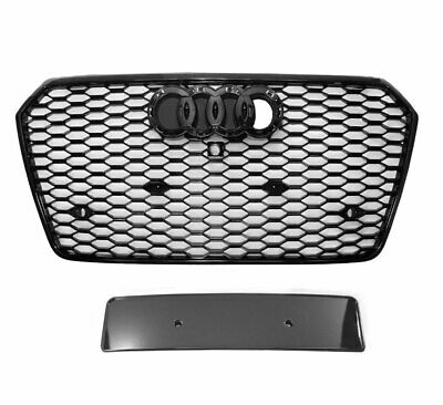 RS6 STYLE FRONT Honeycomb Mesh Grille Grill Black fits Audi A6 S6 C7 2016  2018