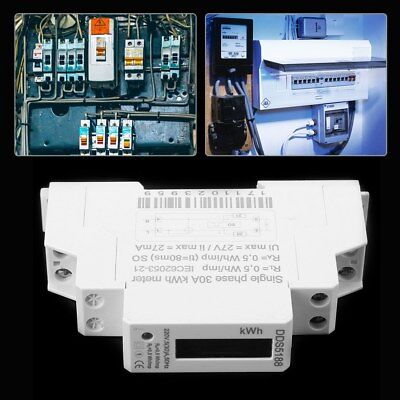Digital LCD 220V Single Phase DIN-Rail 5-30A Electronic Energy KWh Meter ml
