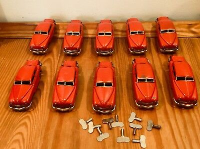 Lot  of 10 Antique Red Tin Friction Toy Cars Made in Occupied Japan w Keys Vtg