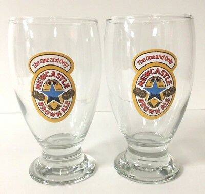 NEWCASTLE Brown Ale 16 oz Schooner Glass Pint ~ Set Of Two (2) Glasses - NEW