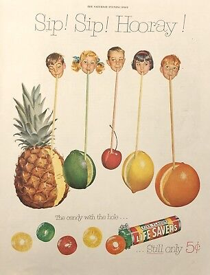 Lifesavers Candy Sip Sip Hooray- Evening Post Paper Advertising 1954 Original Ad