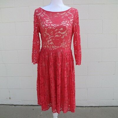Eliza J Womens Salmon Coral Pink Lace Fit Flare Dress with Sleeves Size 10