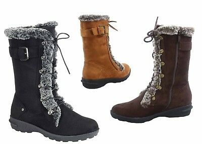 NEW Women's Winter Snow Round Toe Lace Up Zip Mid Calf Boots Shoes size 5 - 10