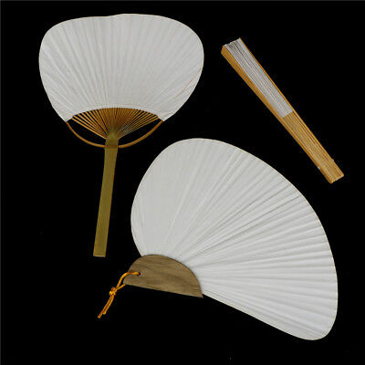 1pc White Folding Elegant Paper Hand Fan Wedding Party Fav RR