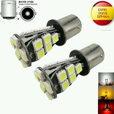 2X Bombillas Ba15S 18 Led 12V Canbus Color Blanco P21W R5W R10W Drl, Freno...