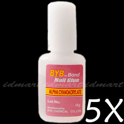 5 Bottles 10g BYB Nail Art Glue Glitter Powder With Brush  NEW