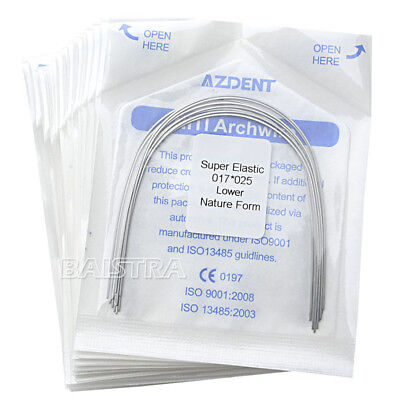 10X Dental Ortho Arch Wires 17X25 Lower Super Niti Elastic Natural Form AZDENT