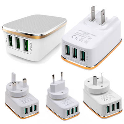 3-Port USB QC Fast Quick Charge Mains 3.0 Power Adapter Travel Wall Charger Plug
