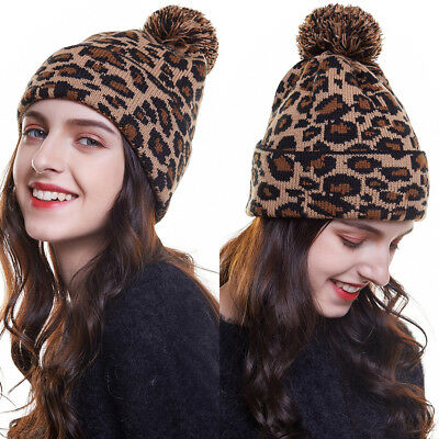 7624a3513a4a Fashion Women Leopard Knit Beanie Pom Cap Warm Winter Skull Hat Ski Outdoor  Hats