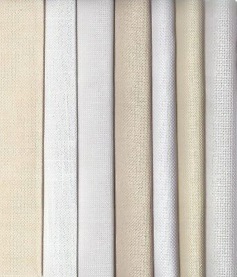 Grab Bag of Evenweave Ant. White, Ecru, Cream & White Fabric 125g offcuts