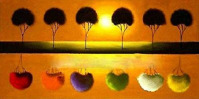 CULOP121 100% hand-painted modern landscape tree oil painting wall art canvas