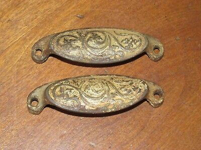 2 Matching Ornate Antique Eastlake Victorian Rounded Grip Cast Iron Bin Pulls