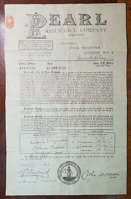 1923 Large Pearl Assurance Company Certificate. Cliffe at Hoo Address