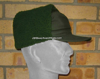 Grade 1 Swedish Army Surplus Cold Weather Dark Green Fur Lined Ecw Hat,trapper