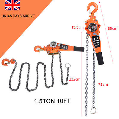 Heavy Duty 1.5 Ton 3m Lever Block Chain Hoist Load Lifting Puller Pulley  UK