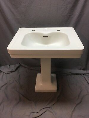 Vtg Ceramic White Viterous China Pedestal Bath Sink Standard Tiffin Old 511-18E