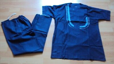 "African Men's Loose Shirt / Top & Trousers ""Senator Style"" - Royal Blue - Small"