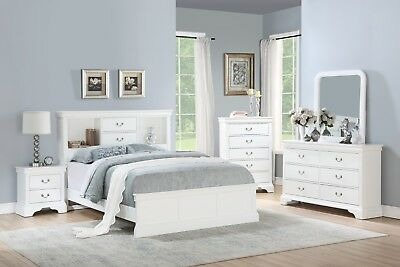 WHITE COLOR CLASSIC Bedroom Furniture Wooden 4pc Set Queen ...
