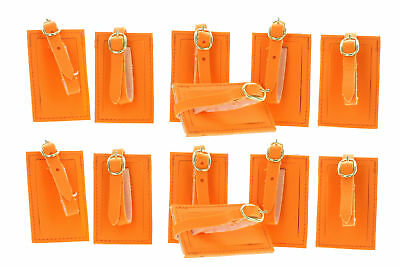 Lot of 12 Neon Orange Luggage Tags With Strap Travel ID Suitcase RALC
