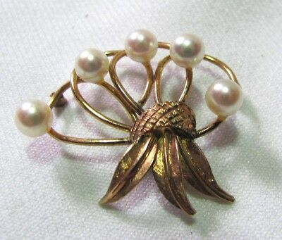 Vintage 14K Gold & Pearl Brooch Pin Sheaf of  Gold Leaves 5 Large Pearls