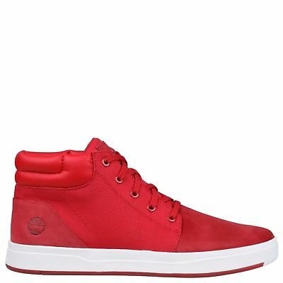 e47327f83bf1b NIB Timberland Men's Davis Square Mixed-Media Chukka Red A1OHGF41 ALL SIZES