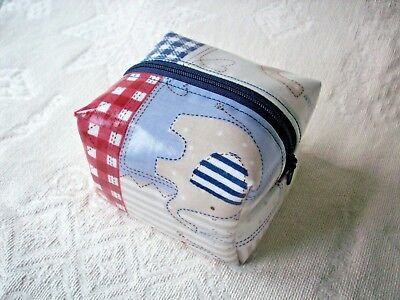 Dummy Soother Pacifier Case Holder Handmade From Blue Bobo Oilcloth
