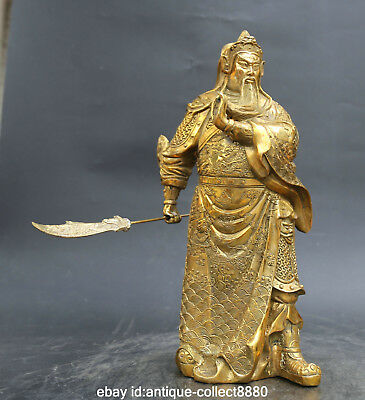 "15.0"" China Bronze Ancient Gild Guan Gong Yu Warrior God Hold Knife Sword Statue"