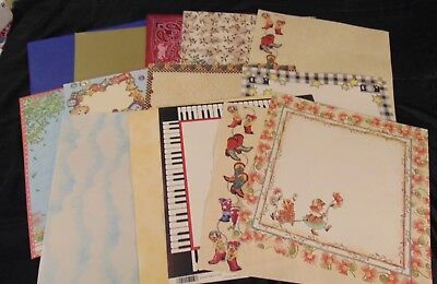 NEW Random Lot of 13 crafting paper sheets - 12 in by 12 in mixed variety brands