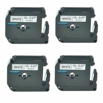 """4PK M-K231 MK231 Black On White Label Tape For Brother P-Touch PT-80 12mm 1/2"""""""
