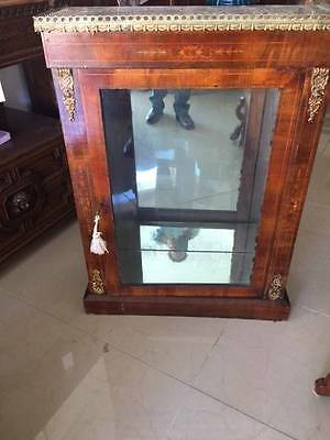 Antique Walnut Display or Music Cabinet Satinwood Marquetry Inlay