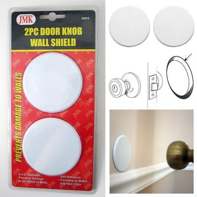 Ram-Pro 2Pc Door Knob Wall Protector Shield Plates Round White Self Adhesive Prevents Holes on Wall