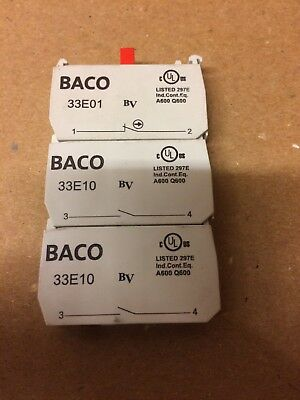 (Lot Of 3) BACO 33E01 CONTACT BLOCK  (Pre Owned)