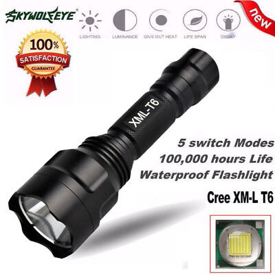 10000 Lm Zoom C8 XML T6 LED 18650 Flashlight 5 Mode Torch Tactical Light Lamp HM