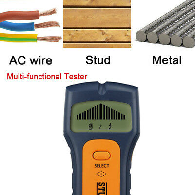New 3in1 LCD Stud Wood Wall Center Scanner Finder Metal AC Live Wire Detector HM