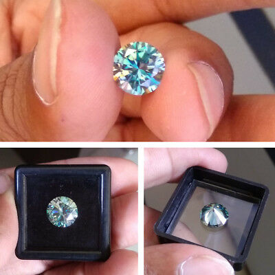0.91 CT 6.5 MM Intense Blue Round Excellent Diamond Cut Real Moissanite 4 Rings