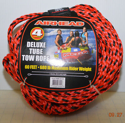 airhead 60 ft 4 riders deluxe tube tow rope 680 lb weight capacity brand new