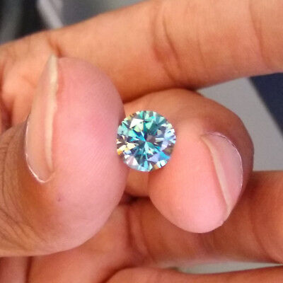 0.51CT 5.2 MM Intense Blue Round Excellent Diamond Cut Real Moissanite 4 Ring