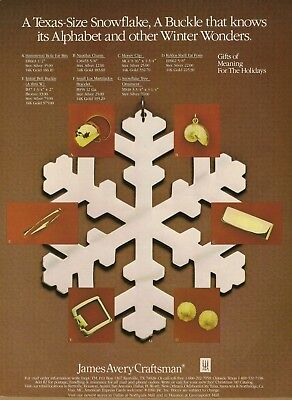 1980 AD for James Avery Craftsman Jewelry Texas-Size Snowflake Vintage Print Ad