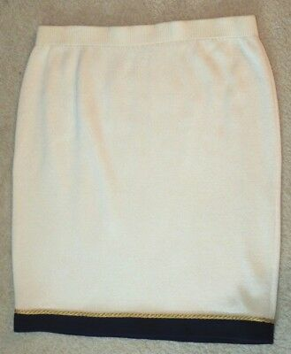 St. John Collection By Marie Gray Cream Knit Skirt W/ Gold Cording Size 12